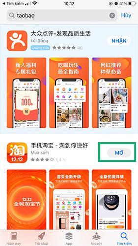 Gõ tìm taobao trên Appstore, lựa chọn đúng app để tránh bị lừa đảo